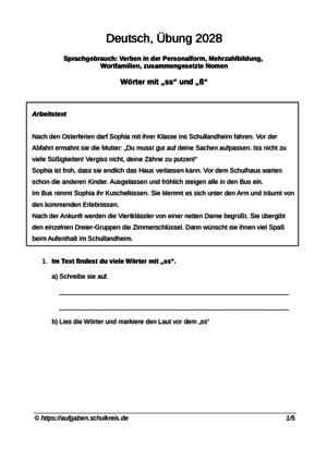 Deutsch Grundschule 4 Klasse übungen Kostenlos Ausdrucken