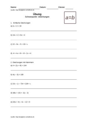 Übung Gleichungen