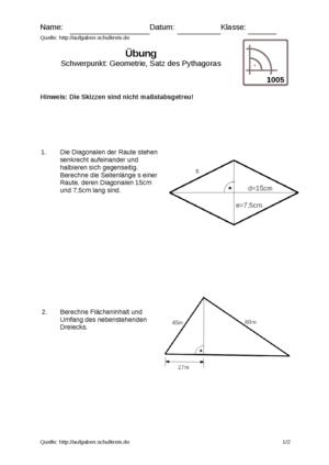 Übung Satz des Pythagoras