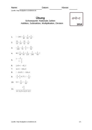 Übung Multiplizieren Dividieren Addieren Subtrahieren Bruchrechnung