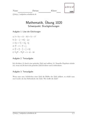 Übung Gleichungen Bruchrechnung