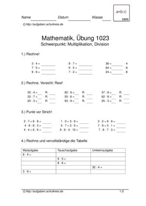 Übung Multiplizieren Dividieren