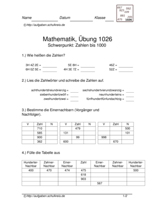 Klassenarbeit 1026