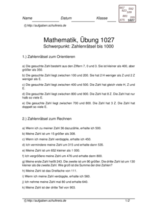 Sachaufgaben Zahlen bis 1000 Übungsblatt 1027 Sachaufgaben Zahlen ...