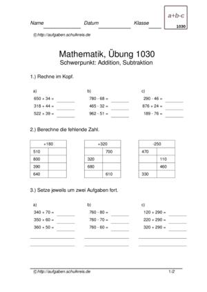 Klassenarbeit 1030