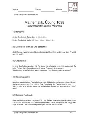 Klassenarbeit 1038