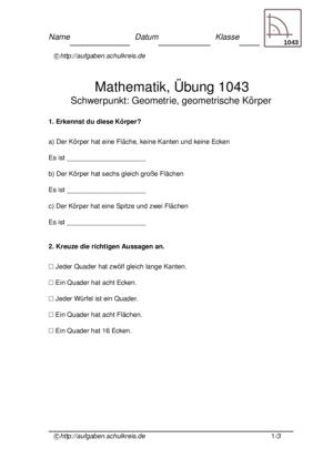 Übung Geometrische Flächen Geometrische Körper