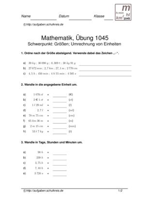 Klassenarbeit 1045