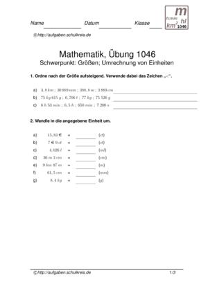 Klassenarbeit 1046