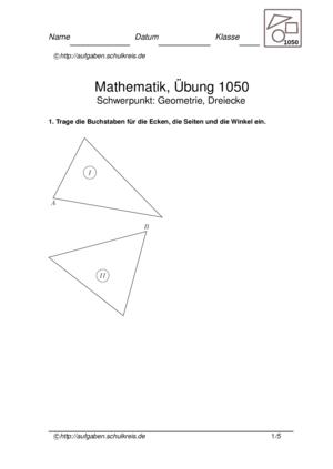 Dreiecke Übungsblatt 1050 Dreiecke
