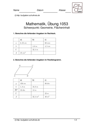 Übung Geometrische Flächen