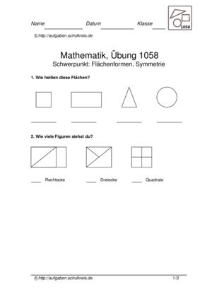 dreiecke vierecke symmetrie bungsblatt 1058. Black Bedroom Furniture Sets. Home Design Ideas