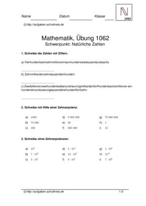 Klassenarbeit 1062