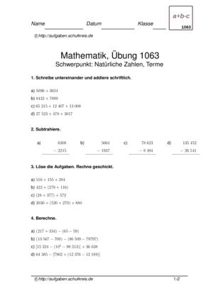 Übung Terme Natürliche Zahlen