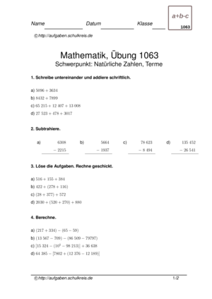 Klassenarbeit 1063
