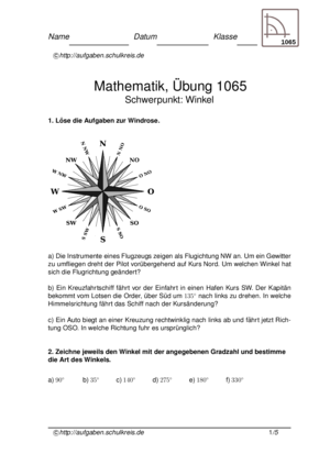 Winkel Übungsblatt 1065 Winkel