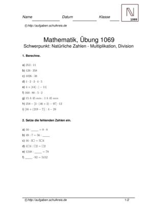 Übung Multiplizieren Dividieren Natürliche Zahlen