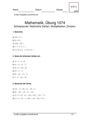 Klassenarbeit 1074