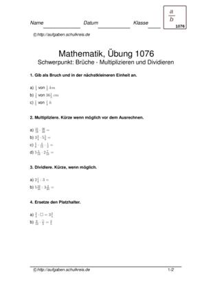 schulkreis.de multiplizieren dividieren brüche Übungsblatt 1076