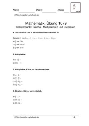 Übung Multiplizieren Dividieren Brüche