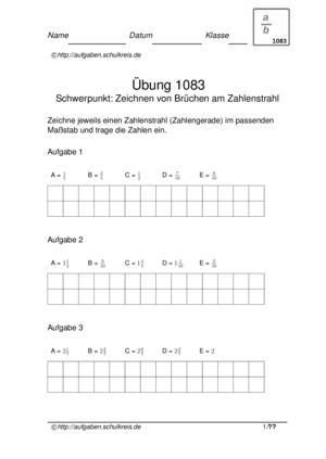 Übung Brüche Zahlenstrahl