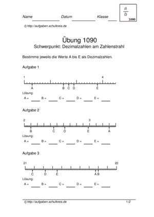 Übung Zahlenstrahl Dezimalzahlen