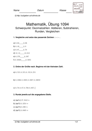 Übung Addieren Subtrahieren Runden von Zahlen Dezimalzahlen Vergleichen von Zahlen