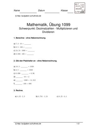 Übung Multiplizieren Dividieren Dezimalzahlen