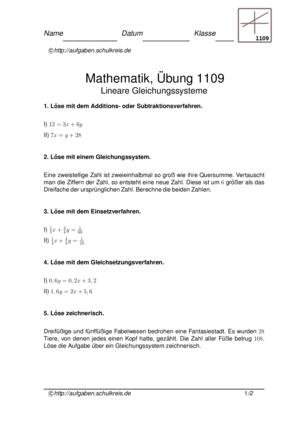 Übung Gleichungssysteme