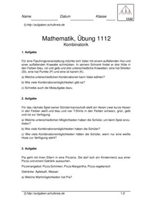 Kombinatorik Klasse 2