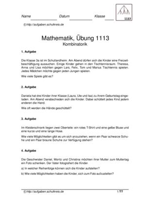Kombinatorik Klasse 3