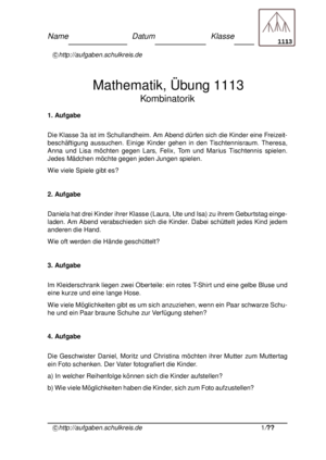 Kombinatorik kostenlos üben, Klasse 2,3,4