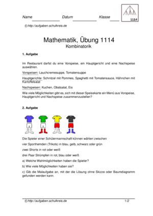 Kombinatorik Klasse 4