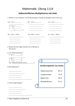 Übung Multiplizieren Halbschriftlich multiplizieren