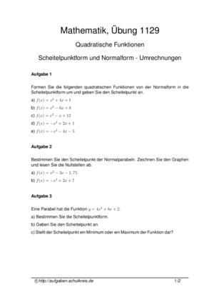 Übung Quadratische Funktionen