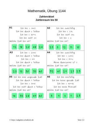 Übung Multiplizieren Dividieren Addieren Subtrahieren Zahlenrätsel