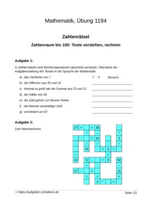Aufgabenblatt 1194