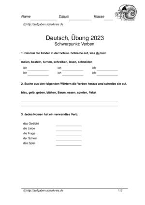 Klassenarbeit Nr2023 Lernzielkontrolle Deutsch Klasse 2