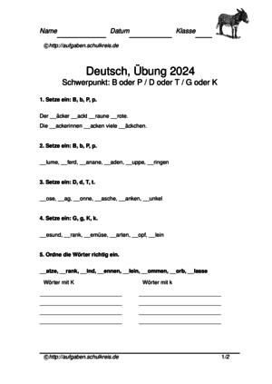 Konsonanten Übungsblatt 2024 Konsonanten