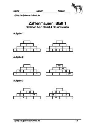 Zahlenmauern, Mathe-Übungen kostenlos, Klasse 1-4