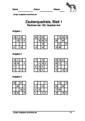 magische Zauberquadrate, Mathe-Arbeitsblätter kostenlos, Klasse 3-4