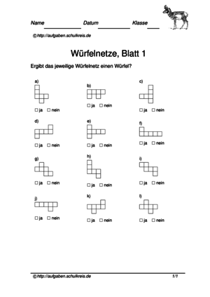 Würfelnetze-Übungsblätter kostenlos, Klasse 3,4